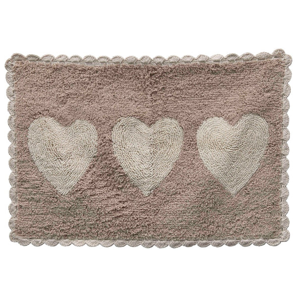 Cotton Tufted Bath Mat With Hearts