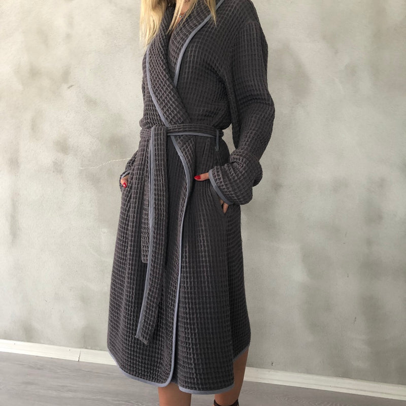 Waffle Turkish Bathrobe - Charcoal
