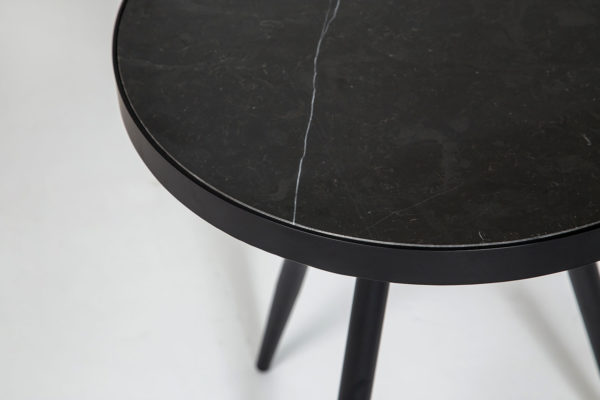 Florence Lamp Table – Black Marble with Black Base