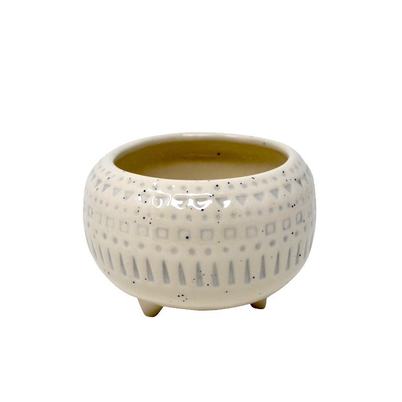 Round footed geo pot