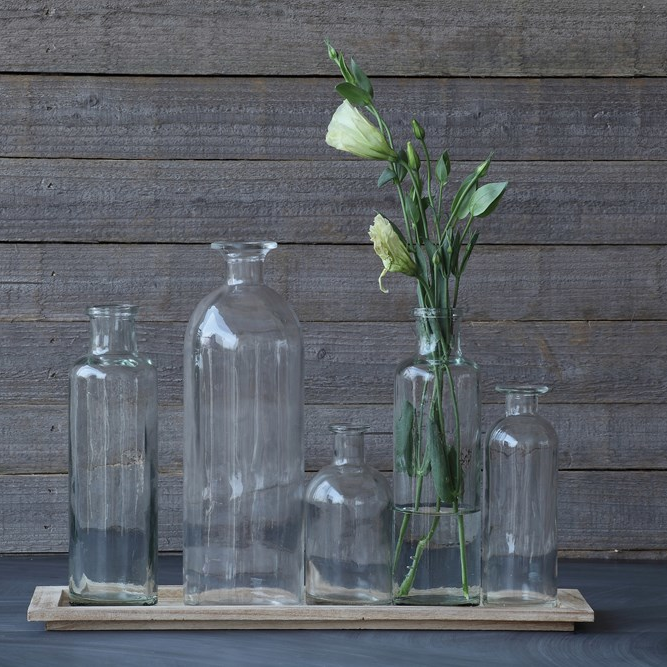 Wood tray with 5 glass bottle vase
