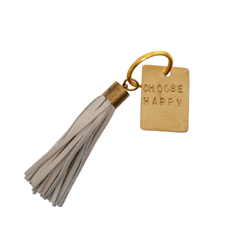 Choose Happy Leather Keychain