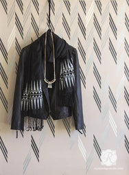 Broken Braid Herringbone Raven + Lily Wall Stencil