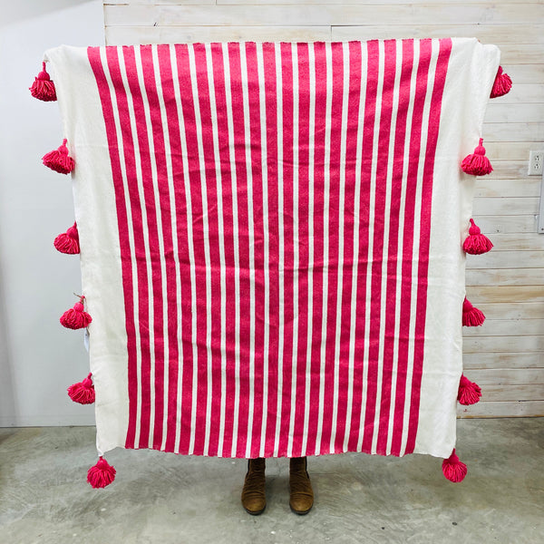 Moroccan Throw - Hot pink with white stripe