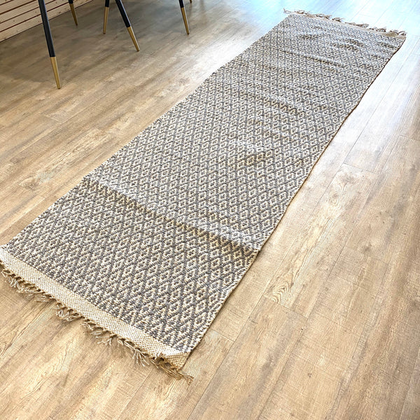 Grey + White Rug Runner 2.5x8