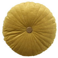 Boho Round Pintuck Cushion, Mustard