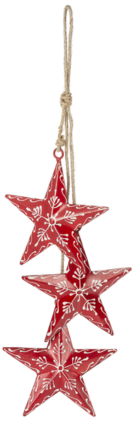 Hand Painted Red & Grey Star Swags
