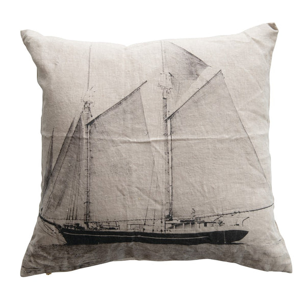 Linen Printed Pillow with Sailboat