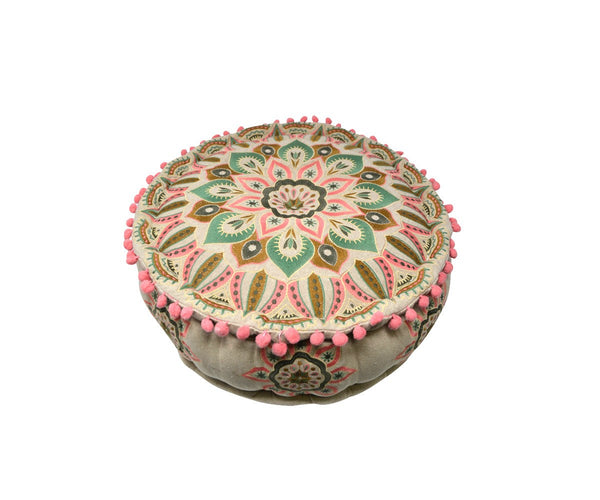 Pink and Brown Flower Floor Pouffe