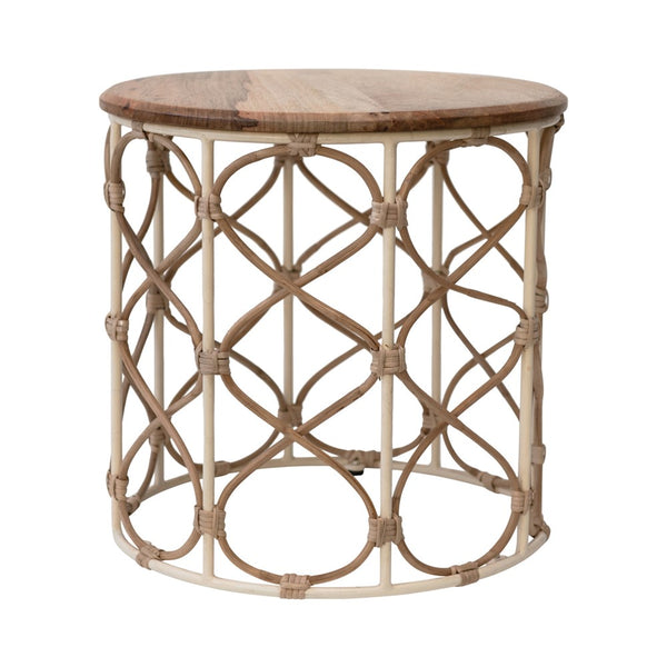 Metal & Cane Side Table/Stool