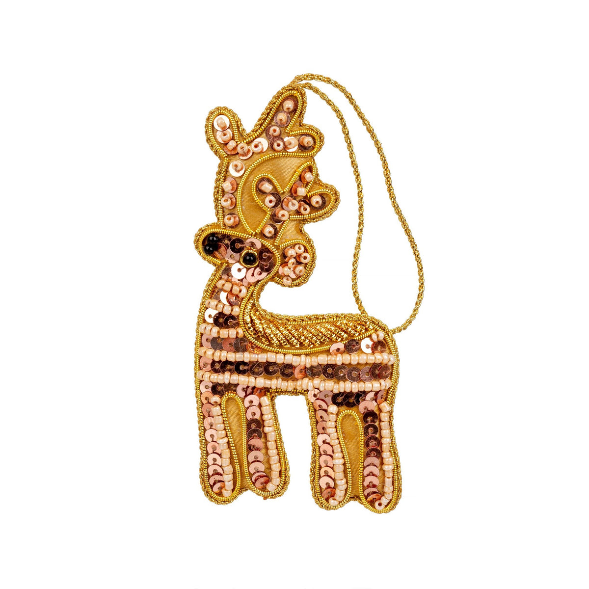 Rose Gold Reindeer Plush Ornament
