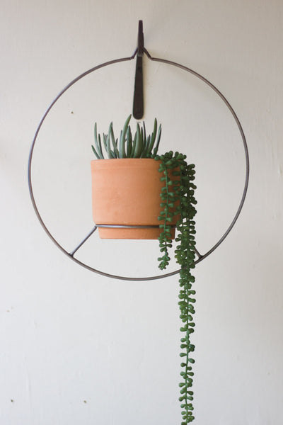 Metal and Clay Planter