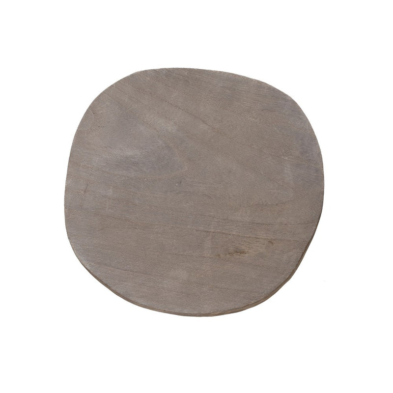 Round Wood Pedestal - Grey Wash