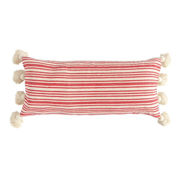 Woven Striped Lumbar Pillow with Tassels