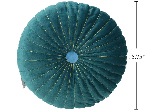 Boho round pintuck cushion- teal