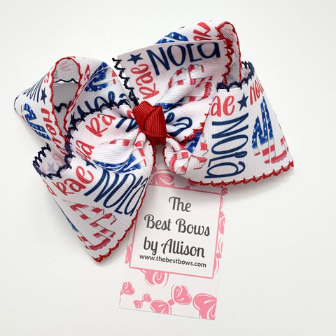 Patriotic Moonstitch NAME BOW