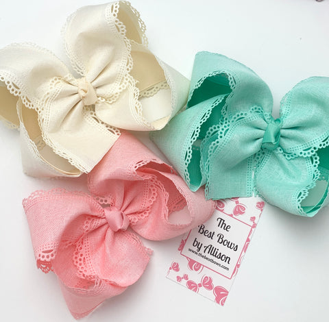Scalloped Edge Bows- Ivory, Lucite, Shell Pink
