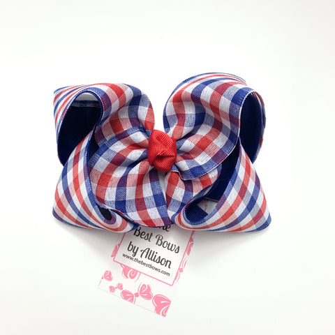 Red and Blue Checked Bow