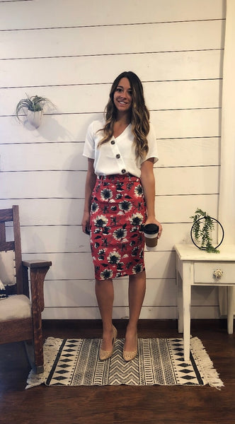 red floral pencil skirt