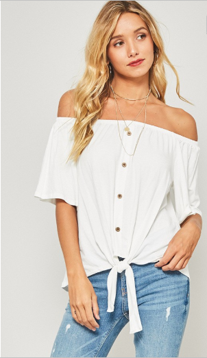 off the shoulder button top