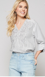 grey stripe embroidered blouse