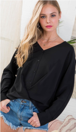 black v neck front button