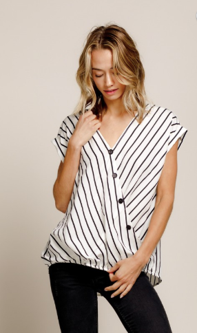 power moves striped blouse