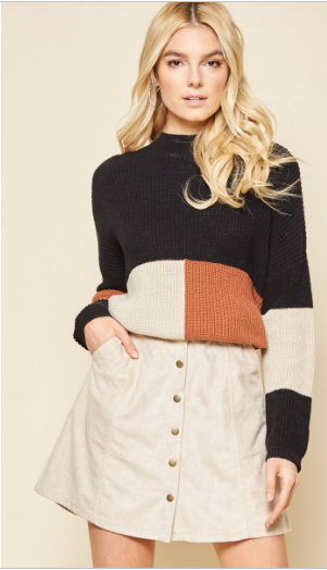 sightseeing in london color block sweater