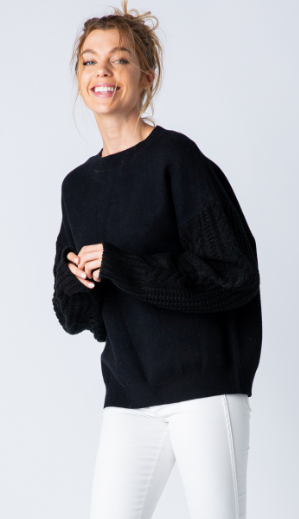 little black cable sleeve sweater
