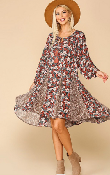 fall highlight mixed print dress
