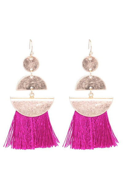 magenta tassel earrings