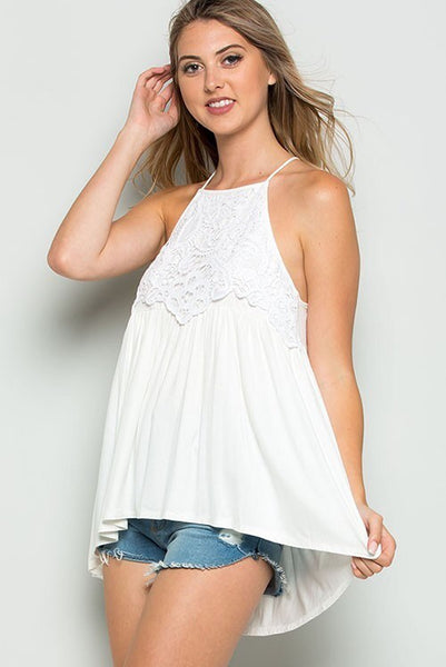crochet lace detailed tank