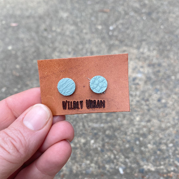 Salvaged Leather Stud Earrings