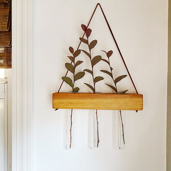 Hanging Propagation Vase - Triple - Heart Pine