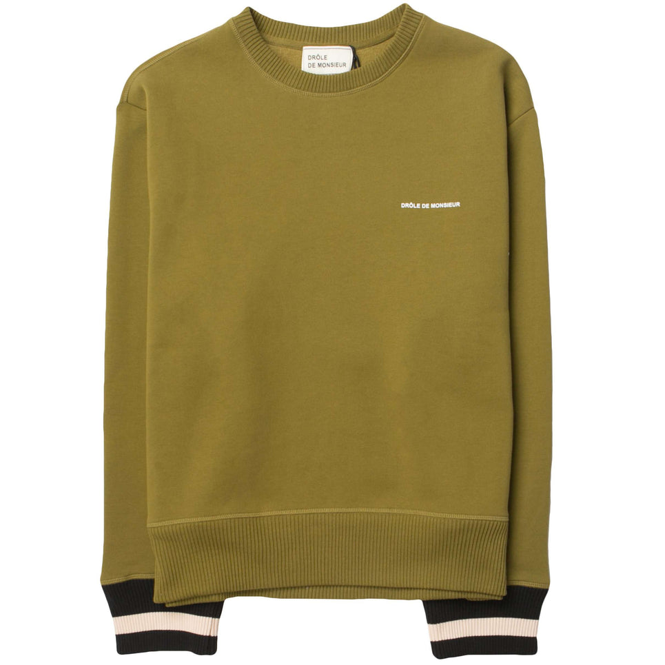 Drole De Monsieur Hem Striped Logo Sweatshirt