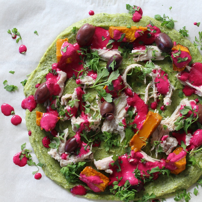 Green Pizza with Beetroot Tzatziki
