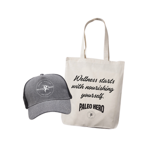 Paleo Hero Trucker Hat + Tote Bag