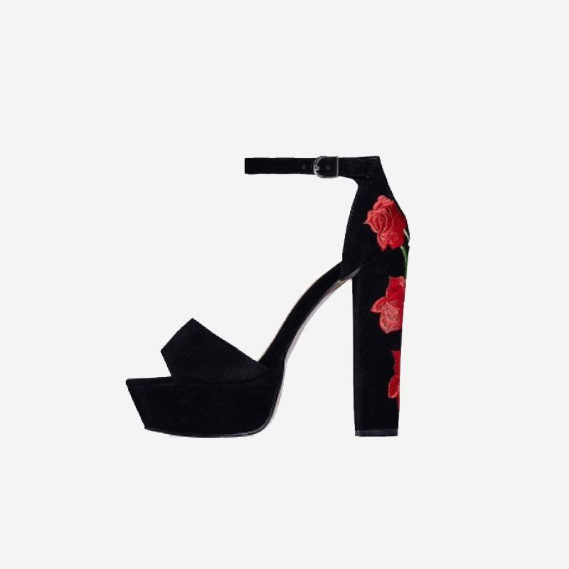 MONIQUE EBONY BLACK ROSE BLOCK HEELS - Abuze shoes