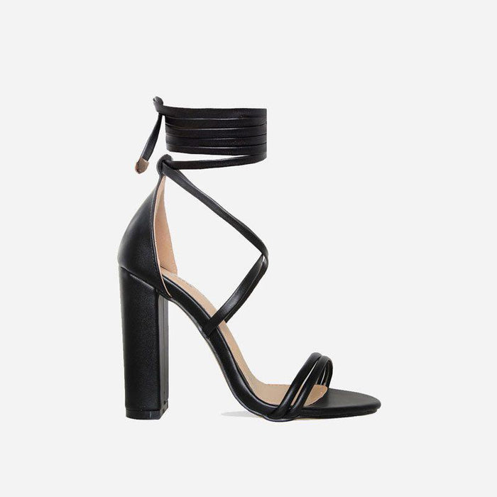 ARIA EBONY BLACK LACE UP BLOCK HEELS - Abuze shoes