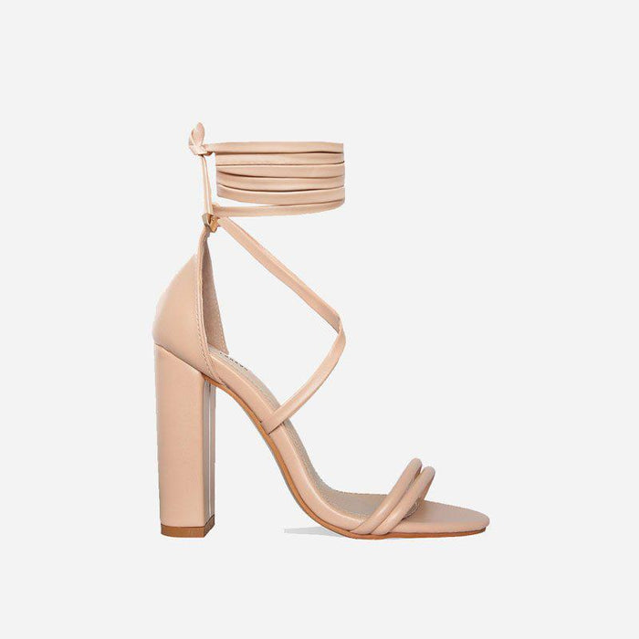 ARIA NUDE BLOCK LACE UP HEELS - Abuze shoes