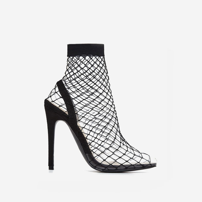 BELLA PERSPEX FISHNET HEELS IN FAUX BLACK