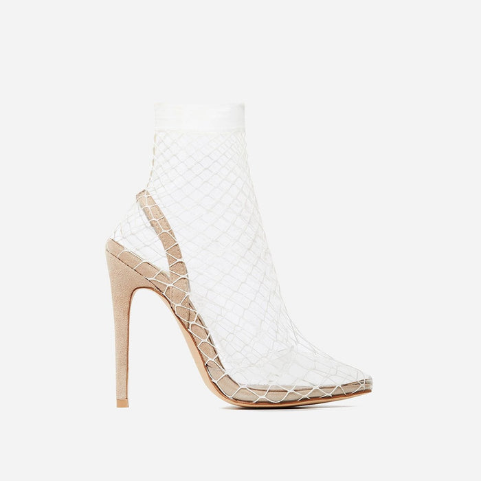 BELLA PERSPEX FISHNET HEELS IN FAUX NUDE