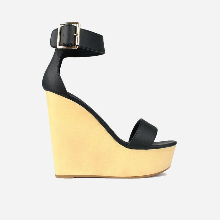 Saint Laurent Ebony Black Wedges - Abuze shoes