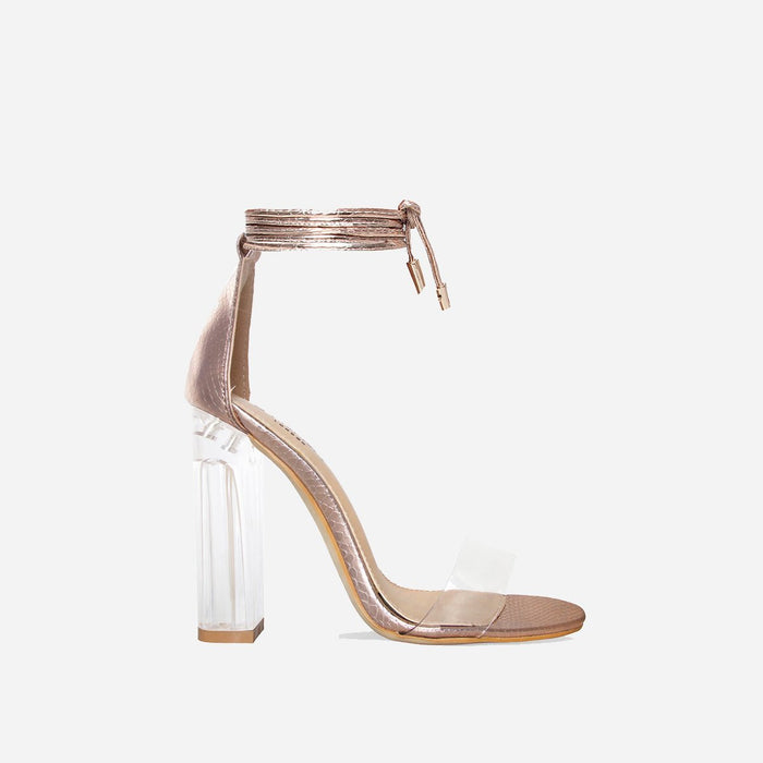 CRYSTELLE ROSE GOLD LACE UP BLOCK HEELS - Abuze shoes