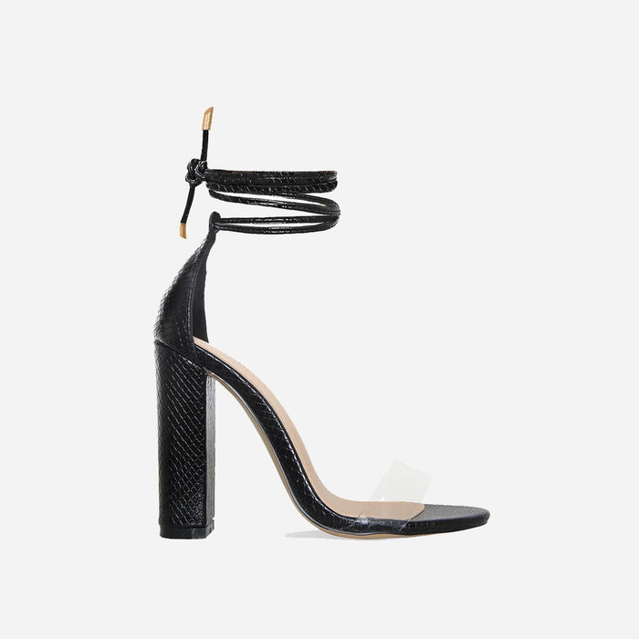 CRYSTELLE FAUX SNAKE BLACK LACE UP BLOCK HEELS - Abuze shoes