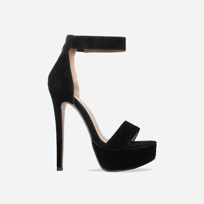 DIOR EBONY BLACK SUEDE PLATFORM HEELS - Abuze shoes