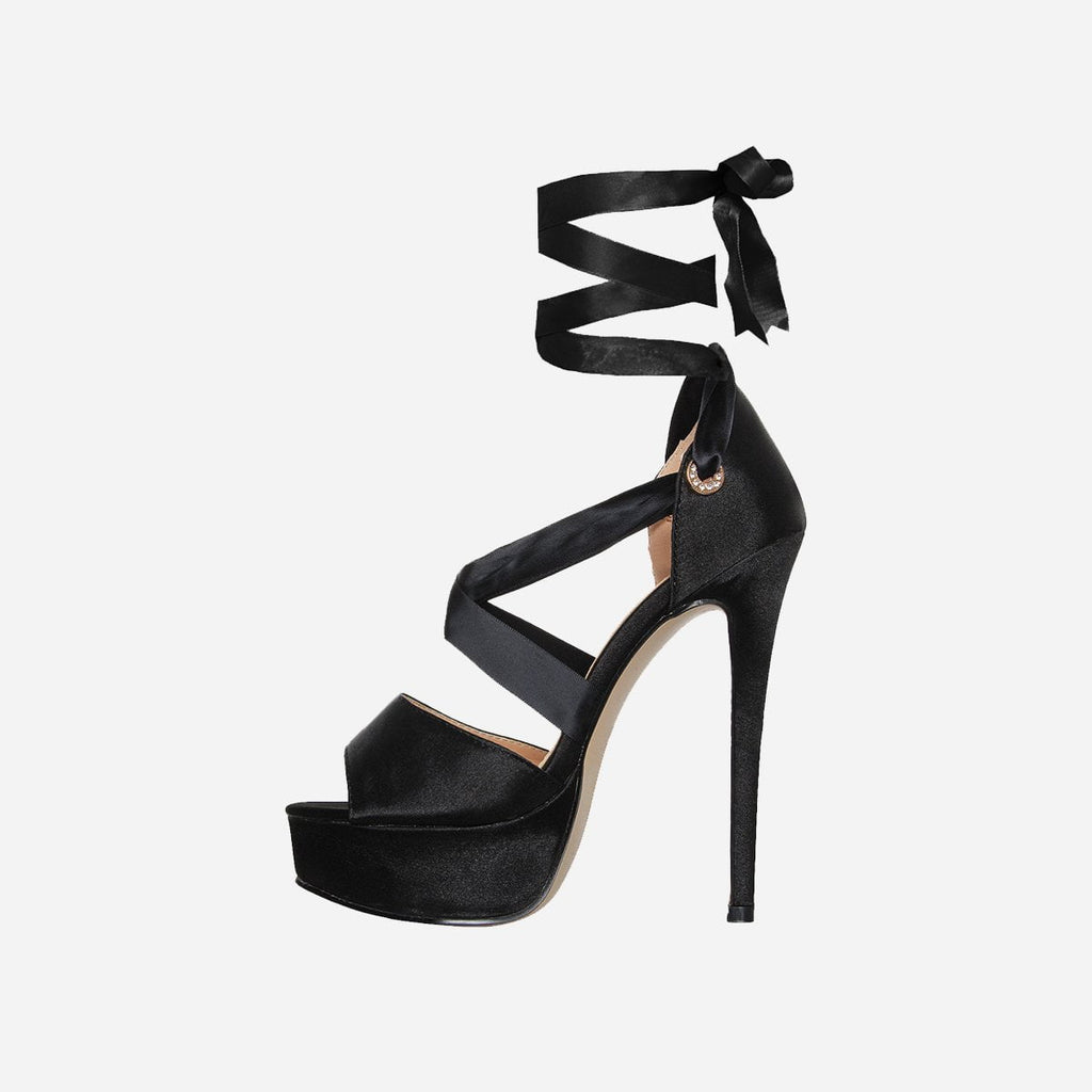 FENDI EBONY BLACK LACE UP PLATFORM HEELS - Abuze shoes