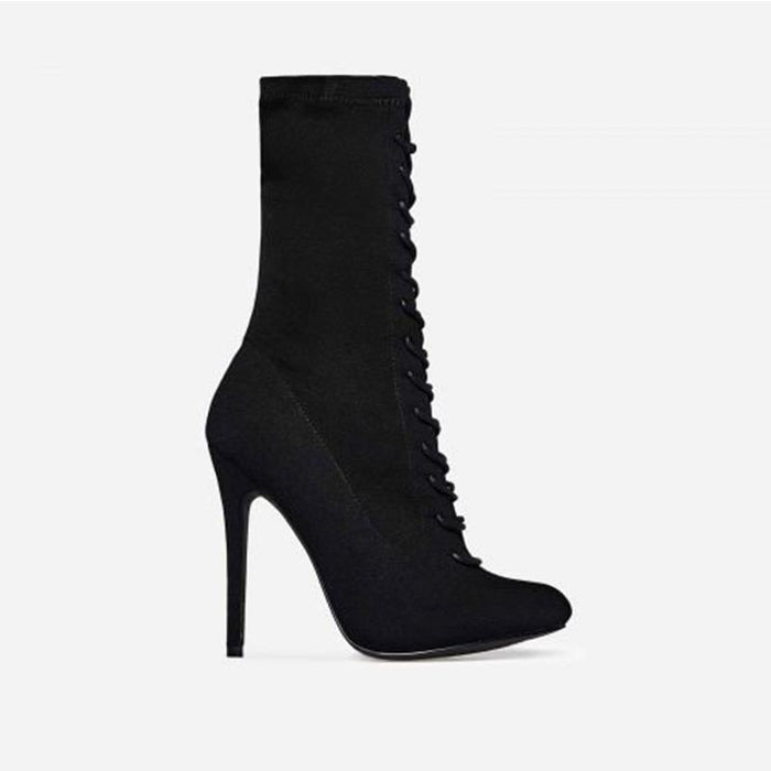 FLORENTINE PANTHER BLACK LACE UP BOOTS - Abuze shoes