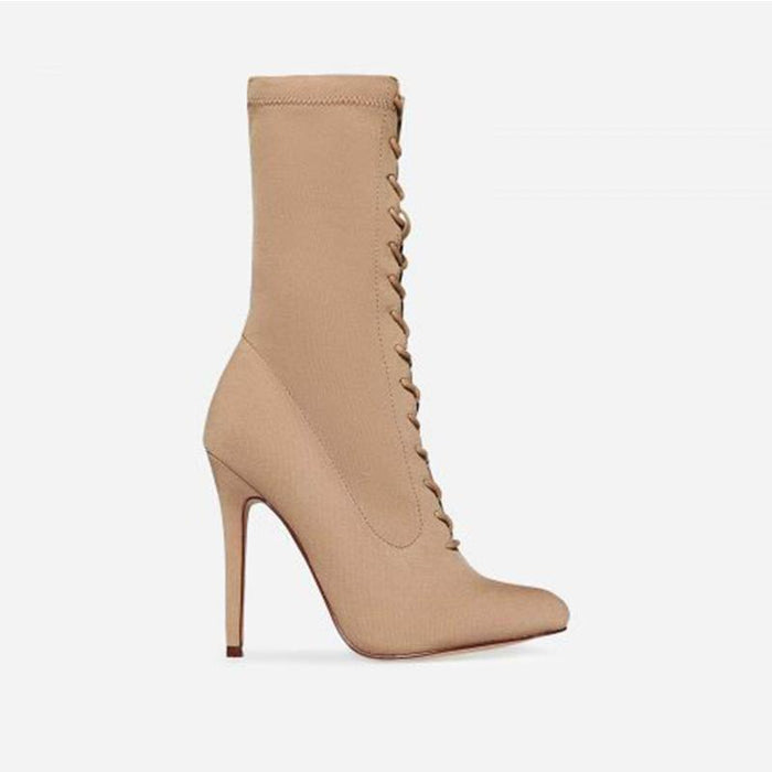 FLORENTINE NUDE SUEDE LACE UP BOOTS - Abuze shoes