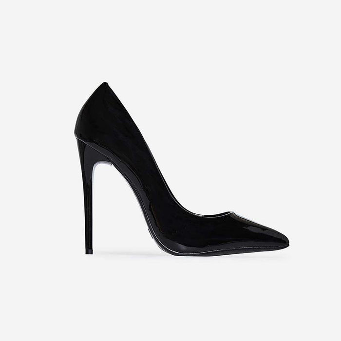 GAIA BLACK STILETTO COURT HEELS